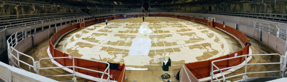 the night before - the process. midnight; laying down the stencils. photo Pascal Bois