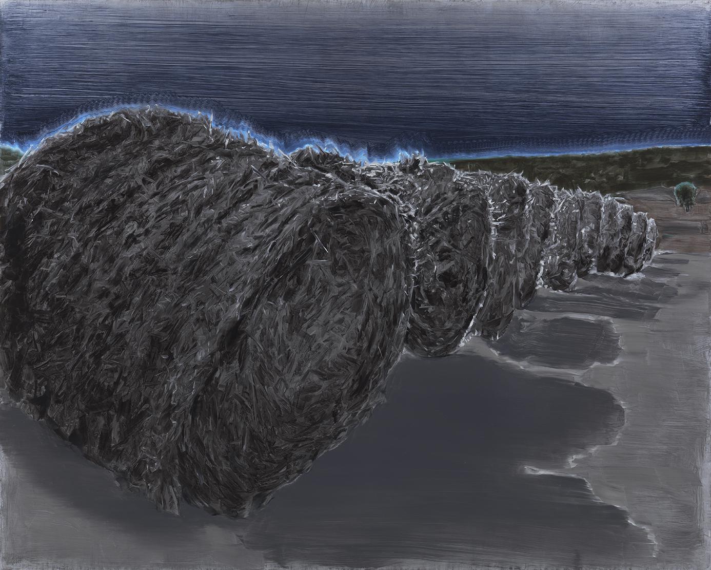 haystacks lying on a beach